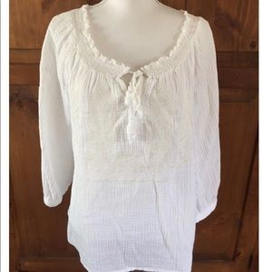 Adiva gauze boho white shirt xl nwot